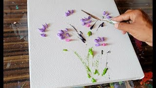 White Flowers / Floral / Abstract Painting Demonstration / Satisfying / Daily Art Therapy / Day #06 thumbnail