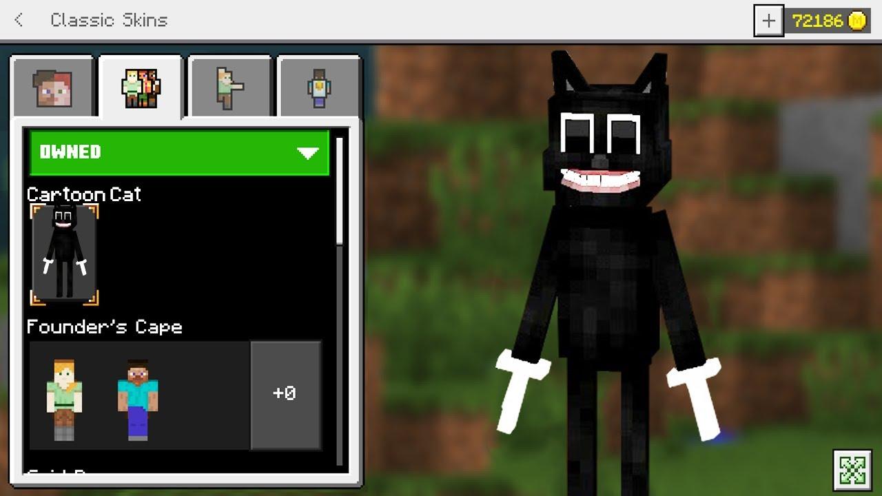 Minecraft: How To Turn Into CARTOON CAT in Minecraft PE (Cartoon Cat Skin  Trolling)
