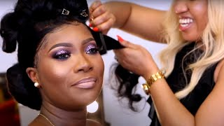 🍫BRIDAL HAIR AND MAKEUP TRANSFORMATION 💄MELANIN GODDESS| WEDDING HAIRSTYLE
