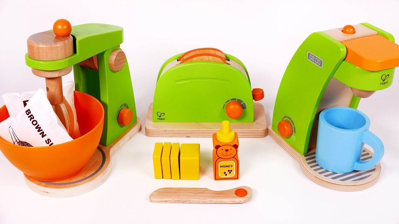 Cooking with Toy Kitchen Appliances Cake Coffee Machine and Toast ...
