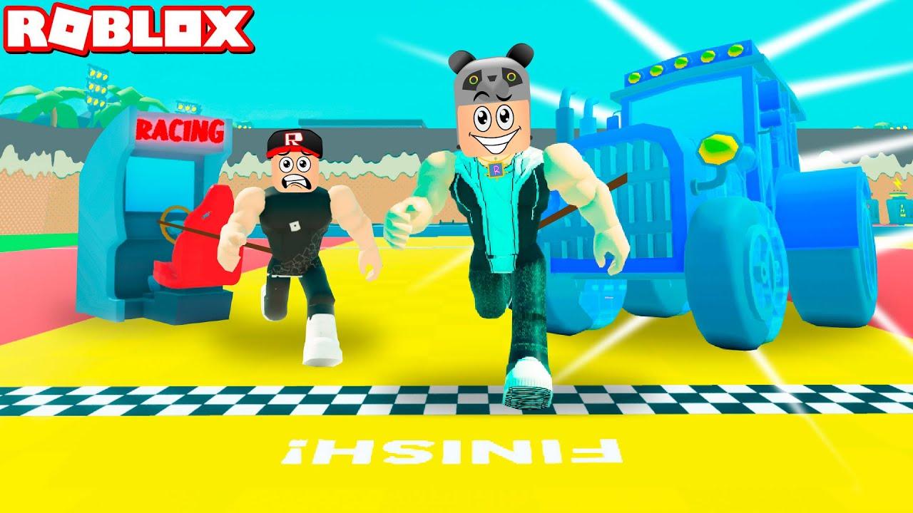 Traktör Çekiyorum!! Çok Güçlendik - Panda ile Roblox Strongman Simulator