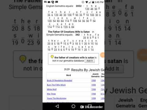 The Father Of Creations Wife Is Satan Value In Gematria Calculator - Burn  The Filthy Witch