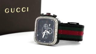 GUCCI G-COUPE BLACK PVD WITH GUCCI FLAG NYLON BAND MEN'S WATCH YA131202 4.00CT