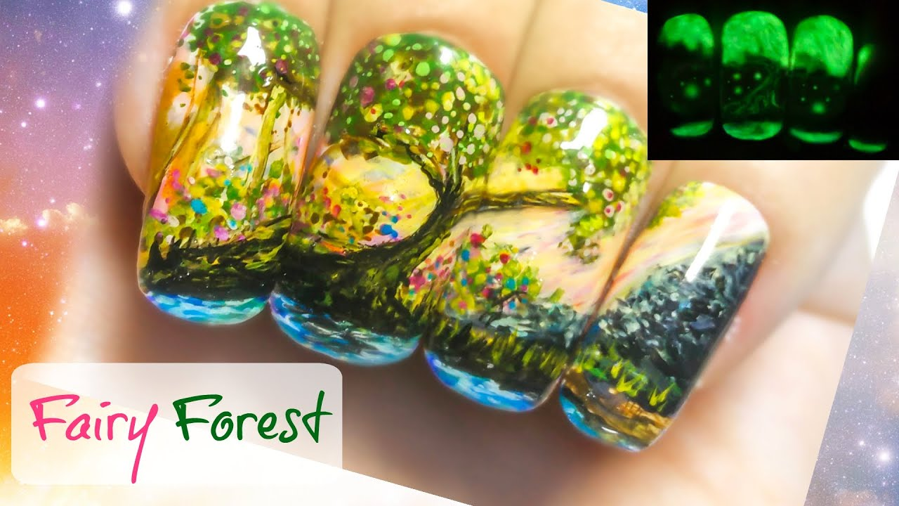 Fairy Forest Freehand Nail Art Tutorial. Glow in the dark nail ...