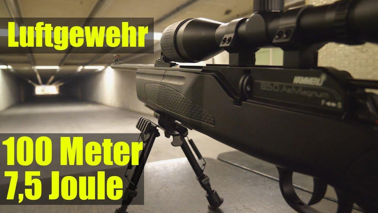 Luftgewehr 7 5 joule auf 100 meter youtube