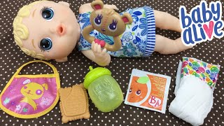 Feeding Baby Alive LIL SIPS READY FOR BED Doll Vintage Orange Juice and Changing Her into Pajamas