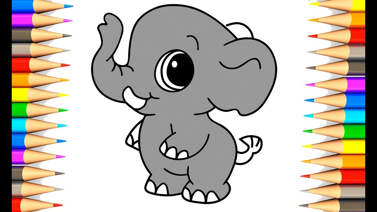 HOW TO DRAW CUTE ELEPHANT | Wild Animals Coloring Pages ...