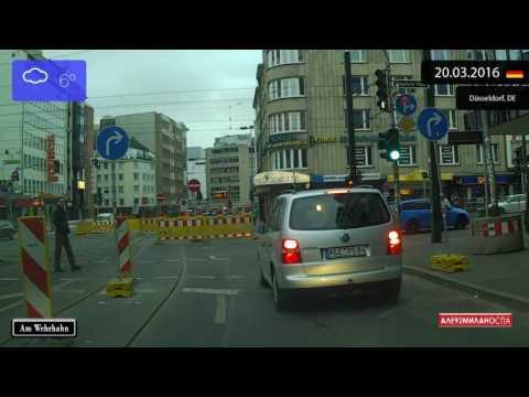 Driving through Düsseldorf (Germany) from Pempelfort to Niederkassel 20.03.2016 Timelapse x4