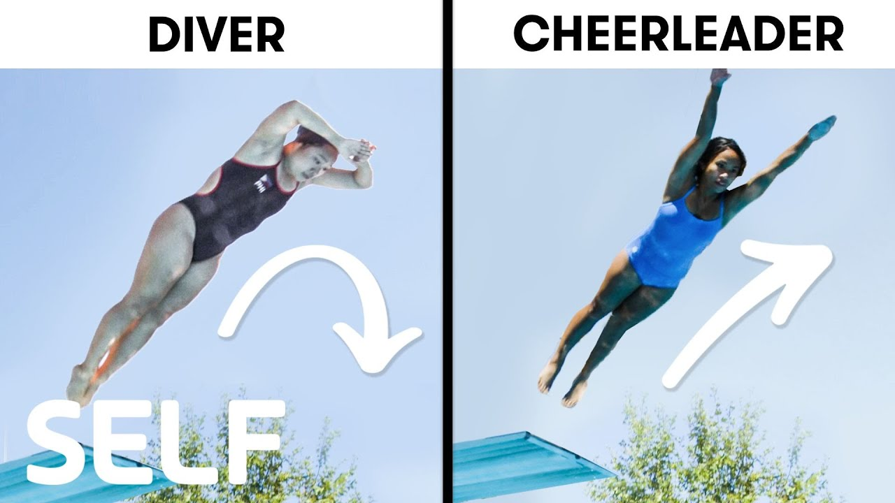 Cheerleaders Try To Keep Up With Synchronized Divers | SELF