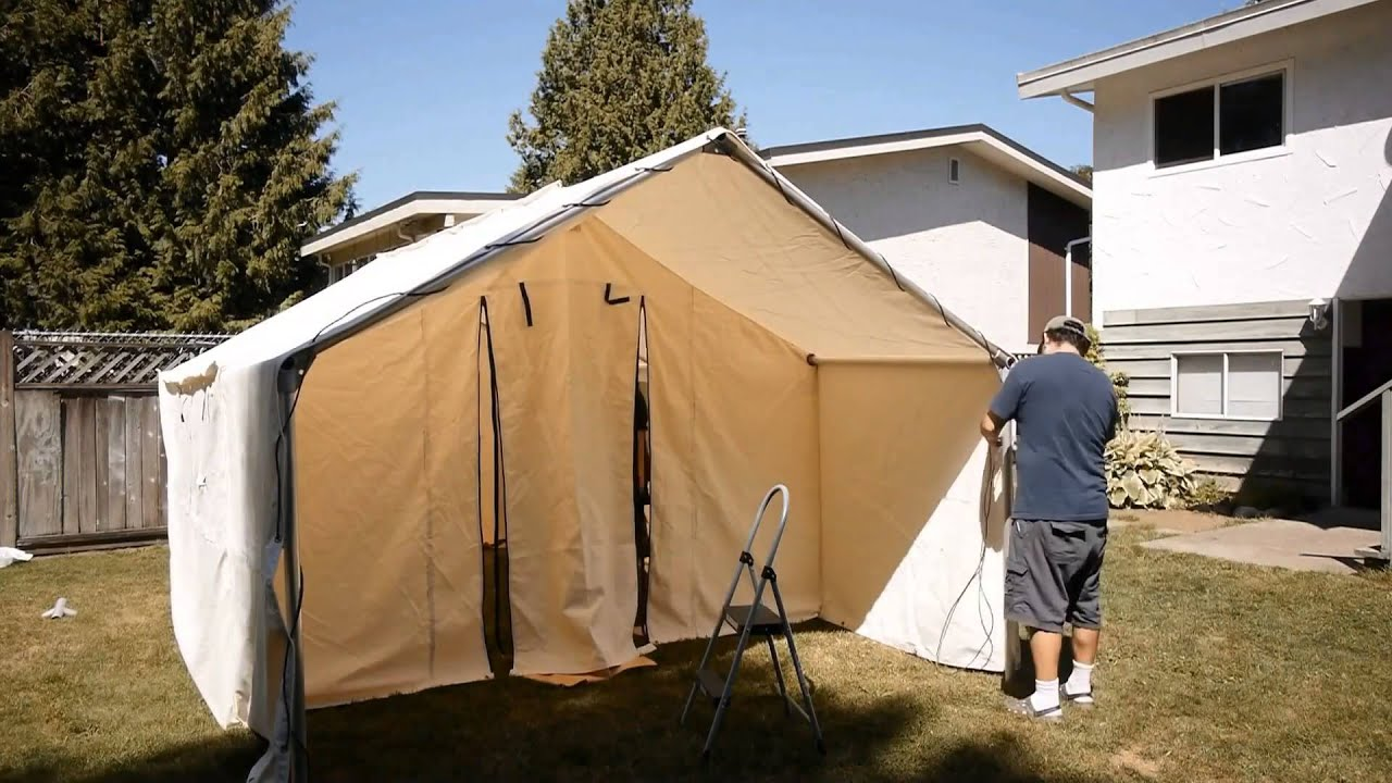 Northwest Shelters 10' x 12' wall tent - YouTube