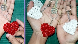 DIY - How To Make a Keychain || Beaded Keychains (♥ Love/Heart Shape Keychain ♥)