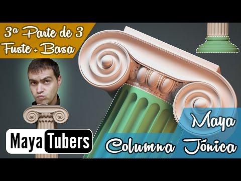 Modelar la Columna Jónica con Autodesk Maya? 03/03 Tutoriales 3D Maya Español - MayaTubers