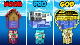 Minecraft NOOB vs. PRO. vs. GOD: FAMILY WATER HOUSE in Minecraft! (Animation)