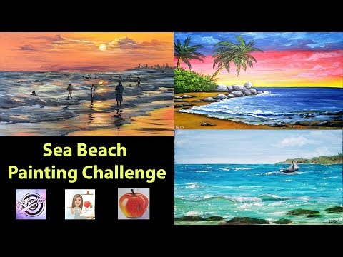 Easy Seascape Painting | Artist Colloboration | Fancy's Art | Acrylic Painting Tutorial thumbnail