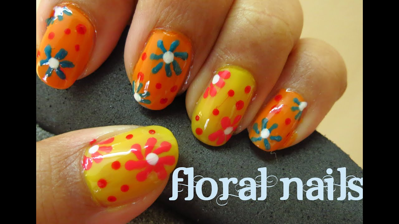 Spring Floral Nails Diy How To Flower Manicure Youtube