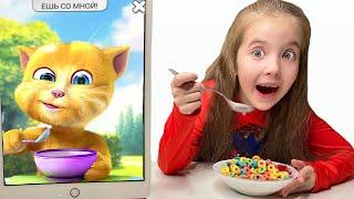 Маша кушает завтрак с смешным котом и играет с мамой