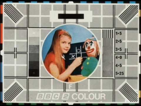 BBC 2 test card transmitter info and test trade colour film