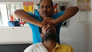 Head massage with audible neck cracking