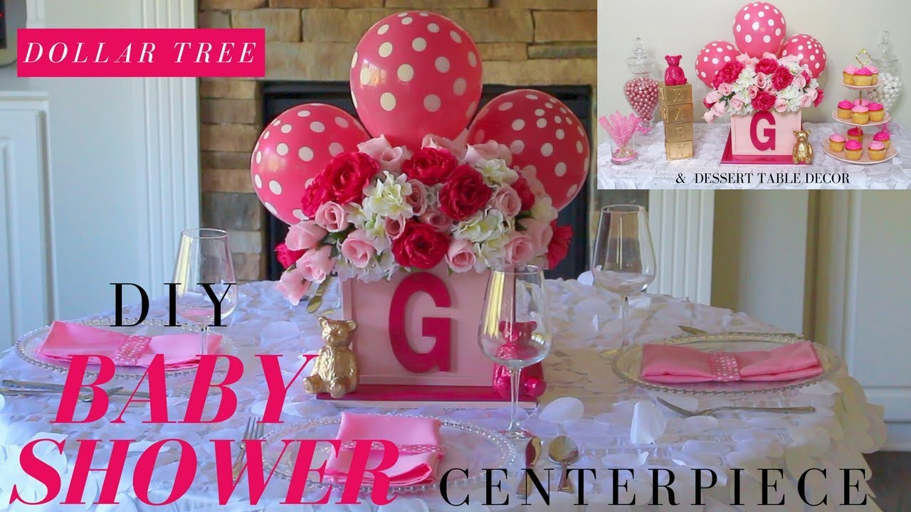 Diy girl baby shower ideas dollar tree baby shower for Baby name decoration ideas