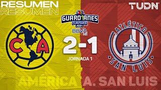 Resumen y goles | América 2-1 Atl San Luis | Torneo Guard1anes 2021 BBVA MX - J1 | TUDN