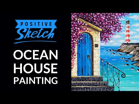 Acrylic painting, Ocean House, Painting tutorial for beginners