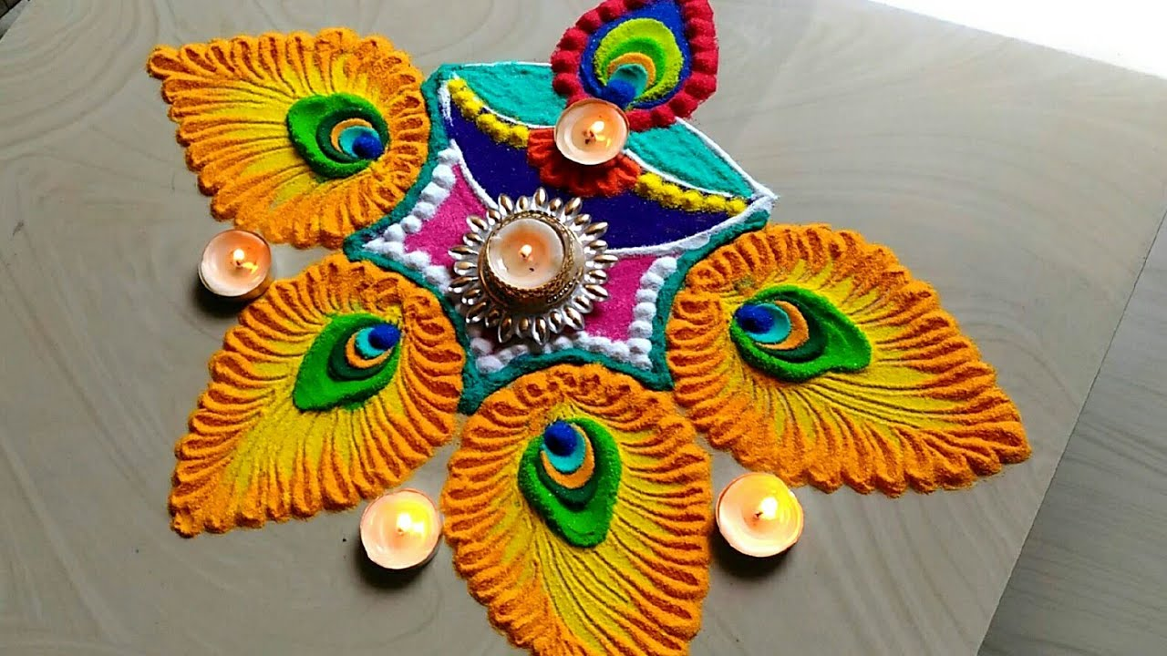 Easy & quick innovative diya decoration Diwali rangoli