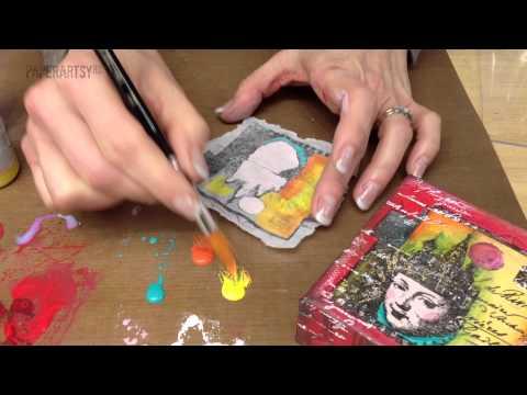 Crackly Tissue with Fresco Finish Chalk Acrylics on Canvas