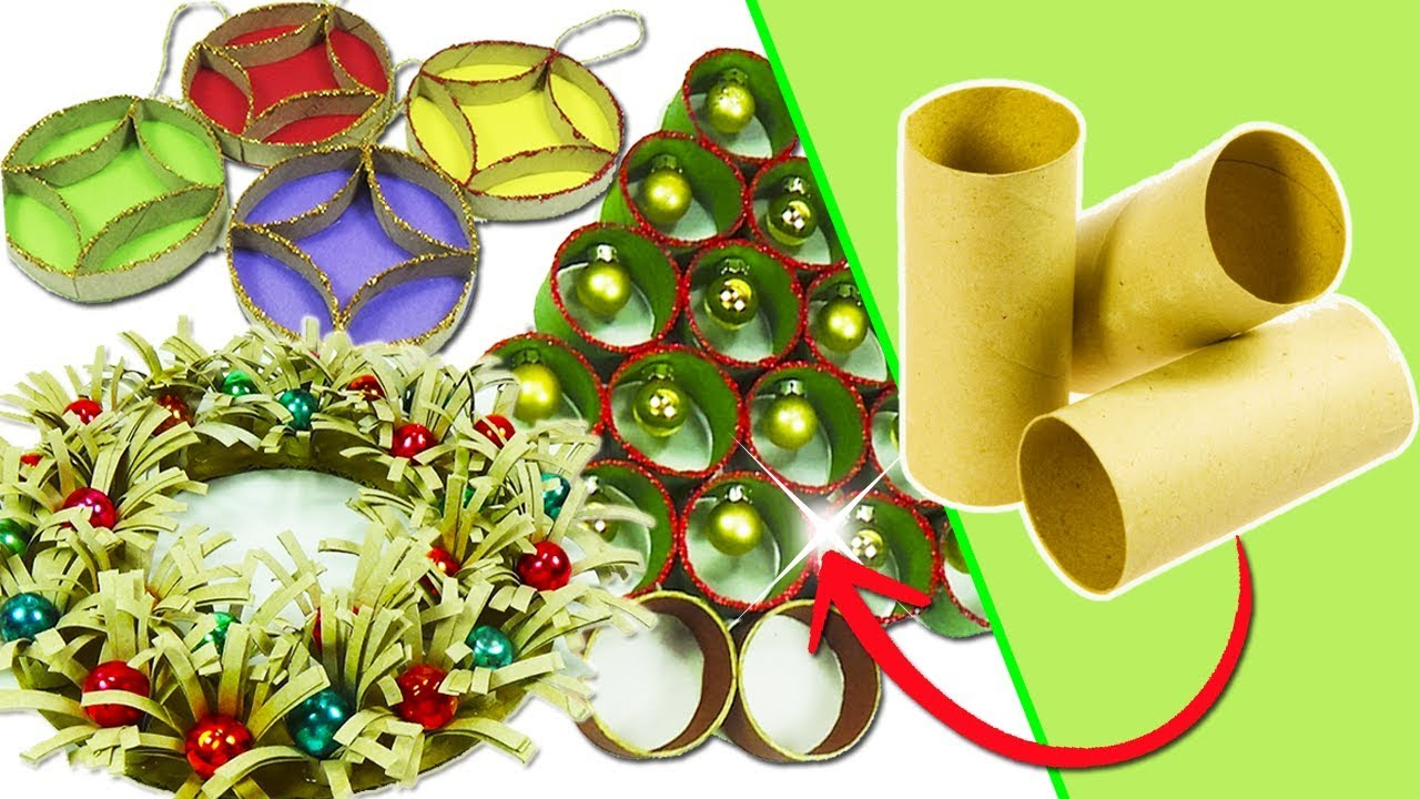 Adornos navide os con tubos de cart n 3 ideas reciclaje for Manualidades para adornos navidenos