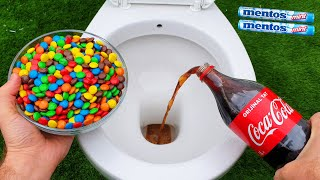 Experiment !! M&M Candy VS Toilet Coca Cola, Sprite and Mentos