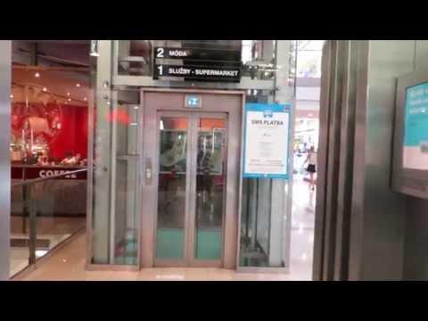 two otis elevators with ReGen drive@mall Flora, Prague, Czech Republic