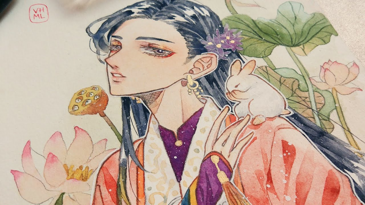 Vẽ áo Nhật Bình bằng màu nước | Linh Sunny