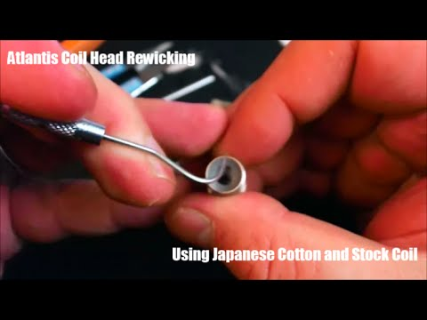 Tutorial: Aspire Atlantis coil head rewick/rebuild using Japanese organic cotton.