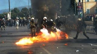 Front line view of the riot during the greek general strike (Athens, Greece)