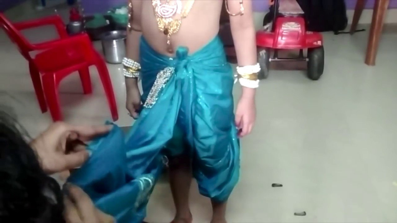 How To Wear Dhotie For Krishna Make Up Please Subscribe This - How to make designer dress at home