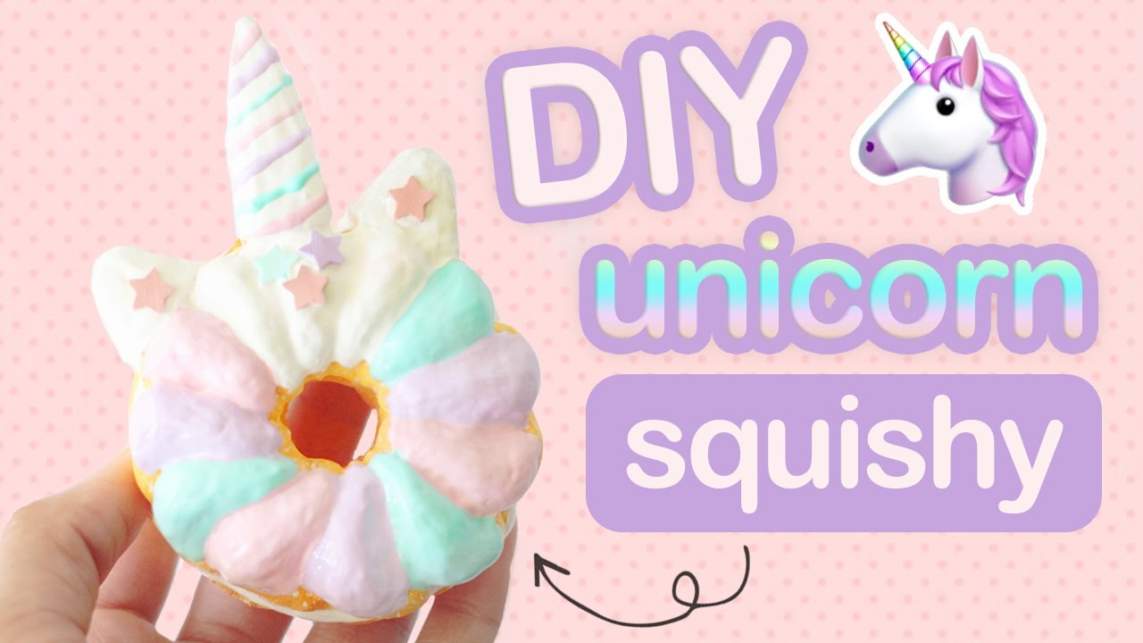 diy unicorn donut squishy - how to make a squishy