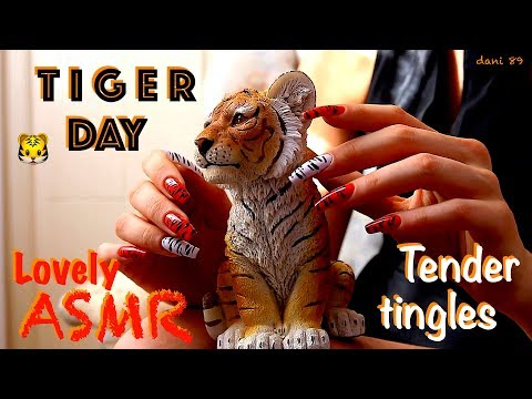 🐯 It's TIGER DAY! 🐯 🎧 So sweet and soft ASMR with tender TINGLES! ✶ Scratching different SOFTNESS ✦
