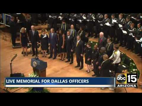 President Obama, President Bush, VP Biden, Dallas officials lock hands - Battle Hymn of the Republic