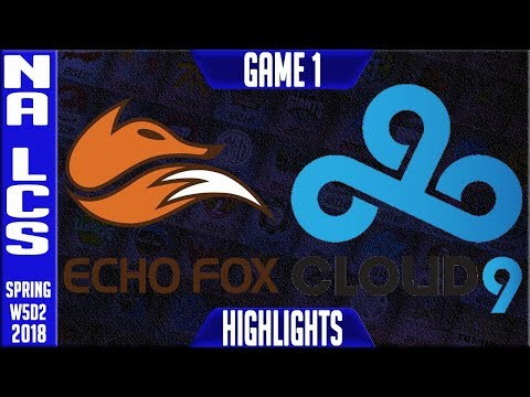 FOX vs C9 Highlights | NA LCS Week 5 Spring 2018 W5D2 | Echo Fox vs Cloud 9 highlights