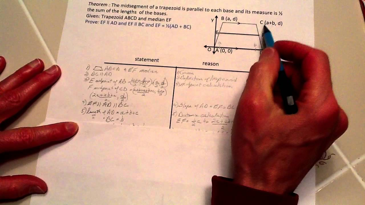 how to find the midsegment of a trapezoid with variables