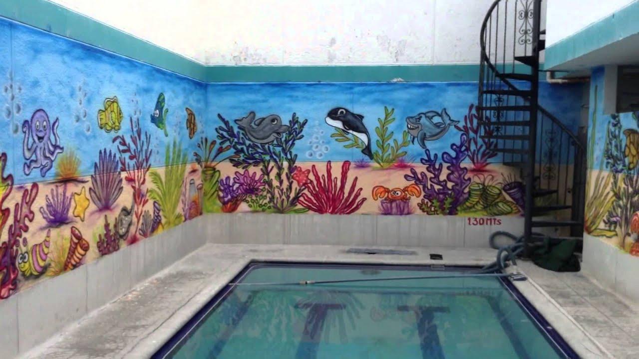 Mural infantil piscina preescolar youtube Murales decorativos para exteriores