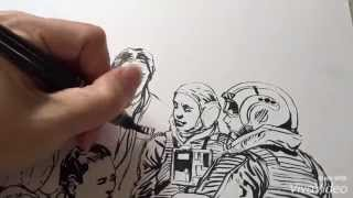 Star Wars: Ink brush technique Hoth with a PENTEL Brush Pen