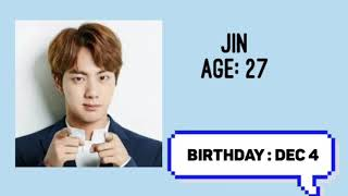 Bts ages and birthday