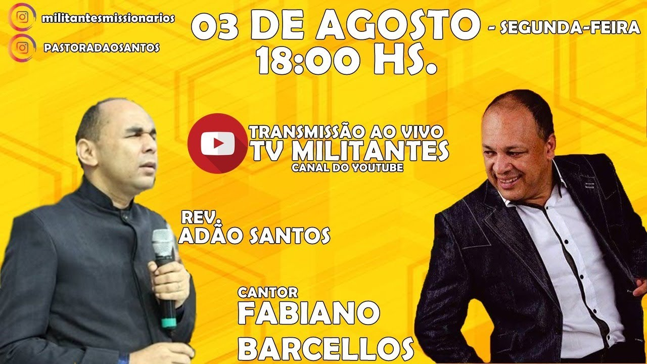 Rev. Adão Santos ao Vivo- Participação Especial do Cantor Fabiano Barcellos.