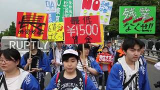 Japan  35,000 May Day protesters demand reforms of PM Abe in Tokyo