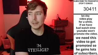MrBeast says PewDiePie 100,000 times in 10 minutes