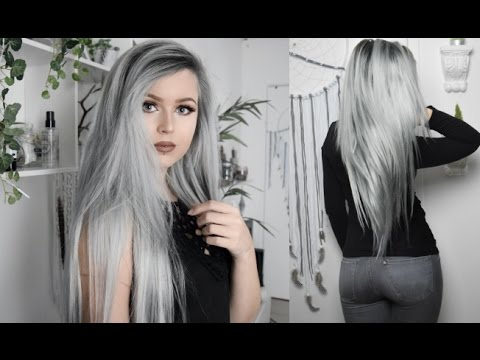 Gray Silver With Dark Roots Hair Tutorial Vpfashion Com Youtube