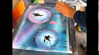 Spray Can Art Fairies in the Moonlight