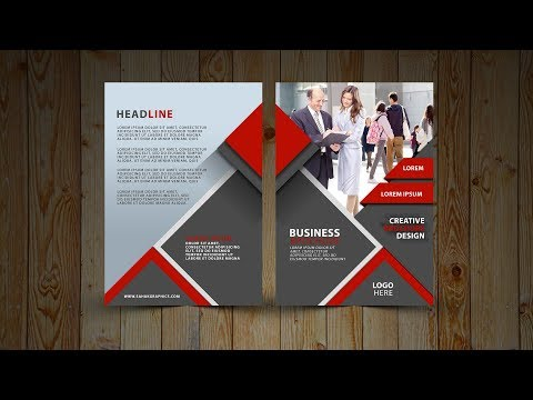 Two Fold Brochure Design | In Photoshop cc tutorial | Red and Gray thumbnail