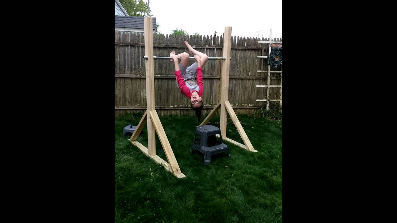 Homemade gymnastics bar - YouTube