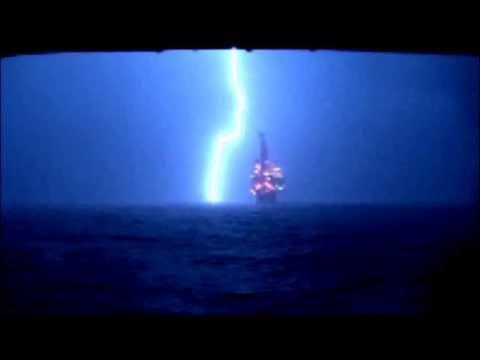 Full Lightning Strike at North Sea Oil Platform